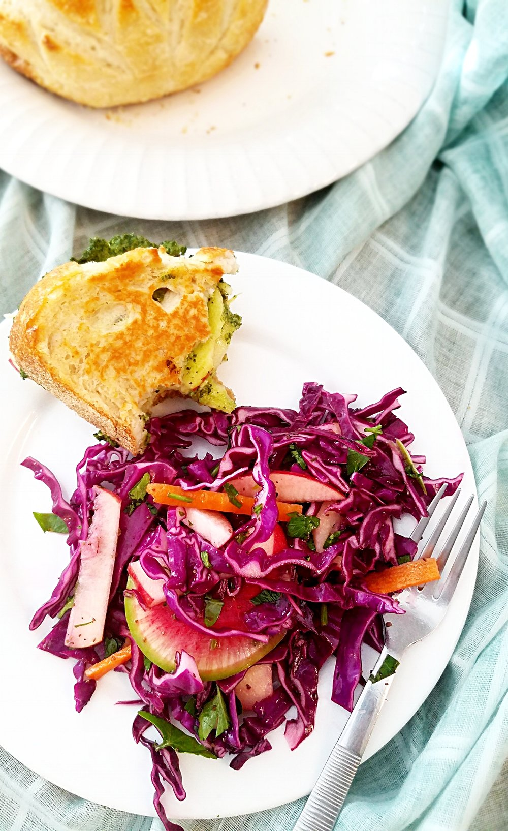 Red Cabbage-Watermelon Radish Slaw
