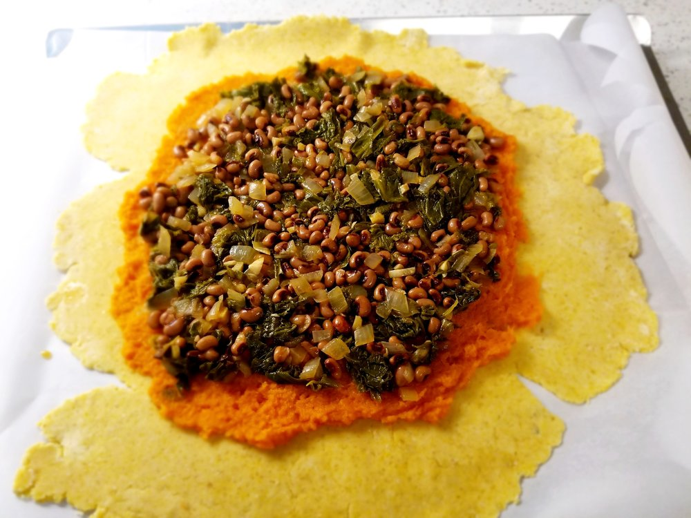 Black-Eyed Peas, Greens and Sweet Potato Cornmeal Galette