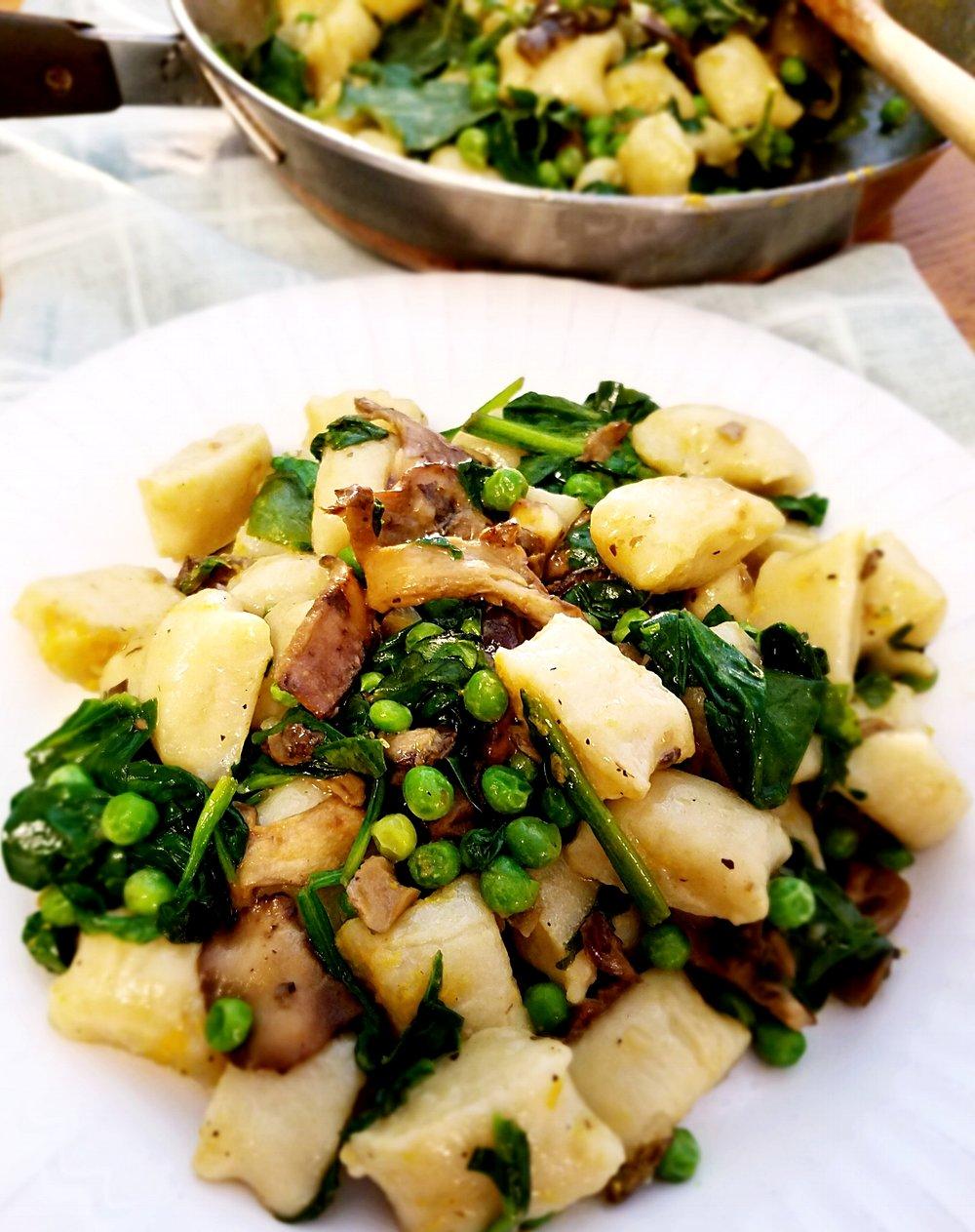 Vegan Spinach, Wild Mushroom and Pea Gnocchi