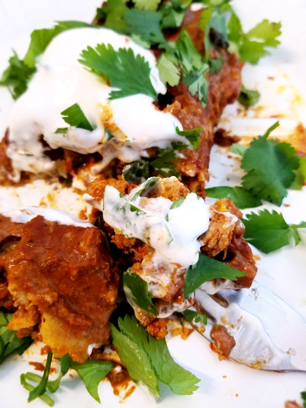 Tofu Chorizo Potato Enchiladas with Almond Tahini Mole Sauce