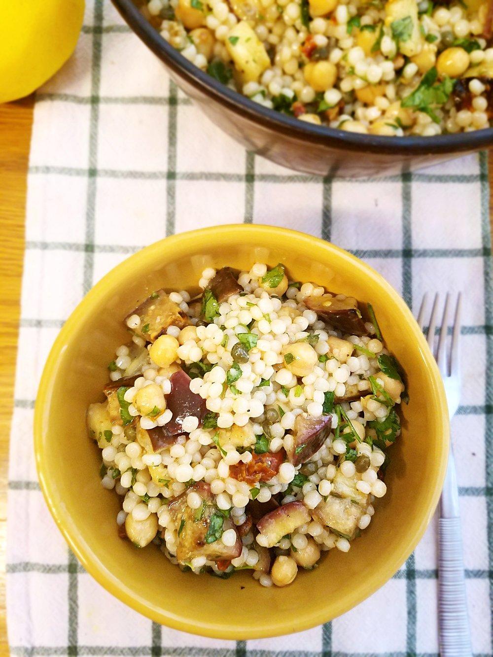 Mediterranean Chickpea Eggplant Salad