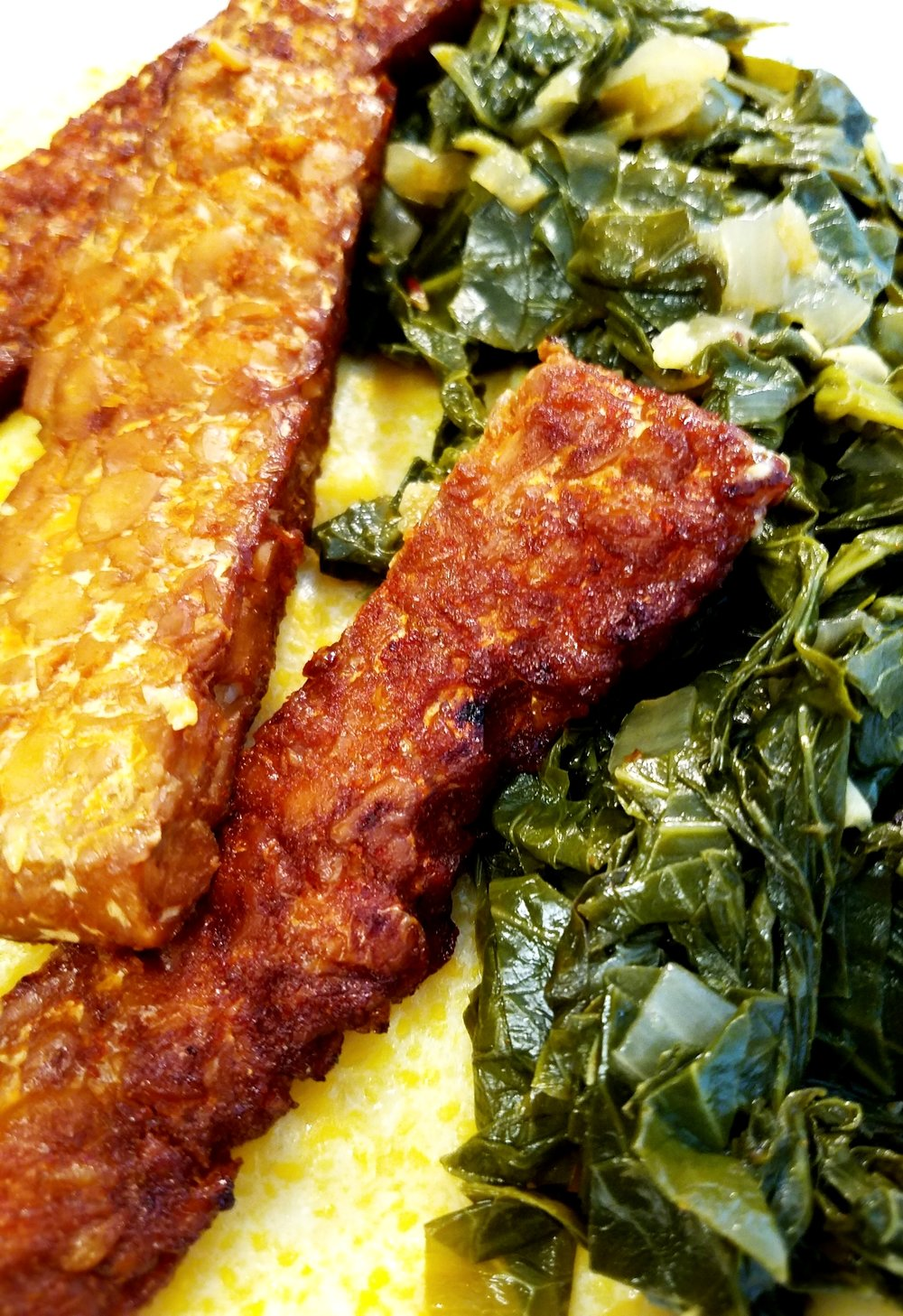 Vegan Cheese Grits with Tempeh Bacon and Greens