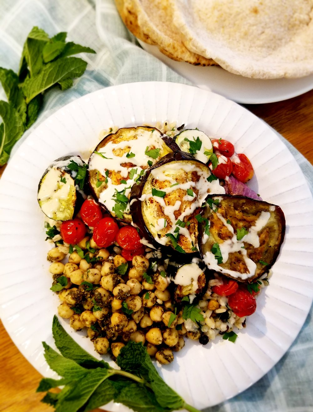 Grilled Vegetables with Za'atar Chickpeas and Mint Pistachio Barley