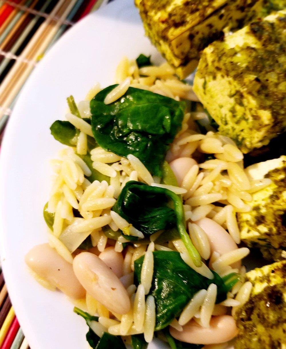 Spinach Cannellini Bean Orzo