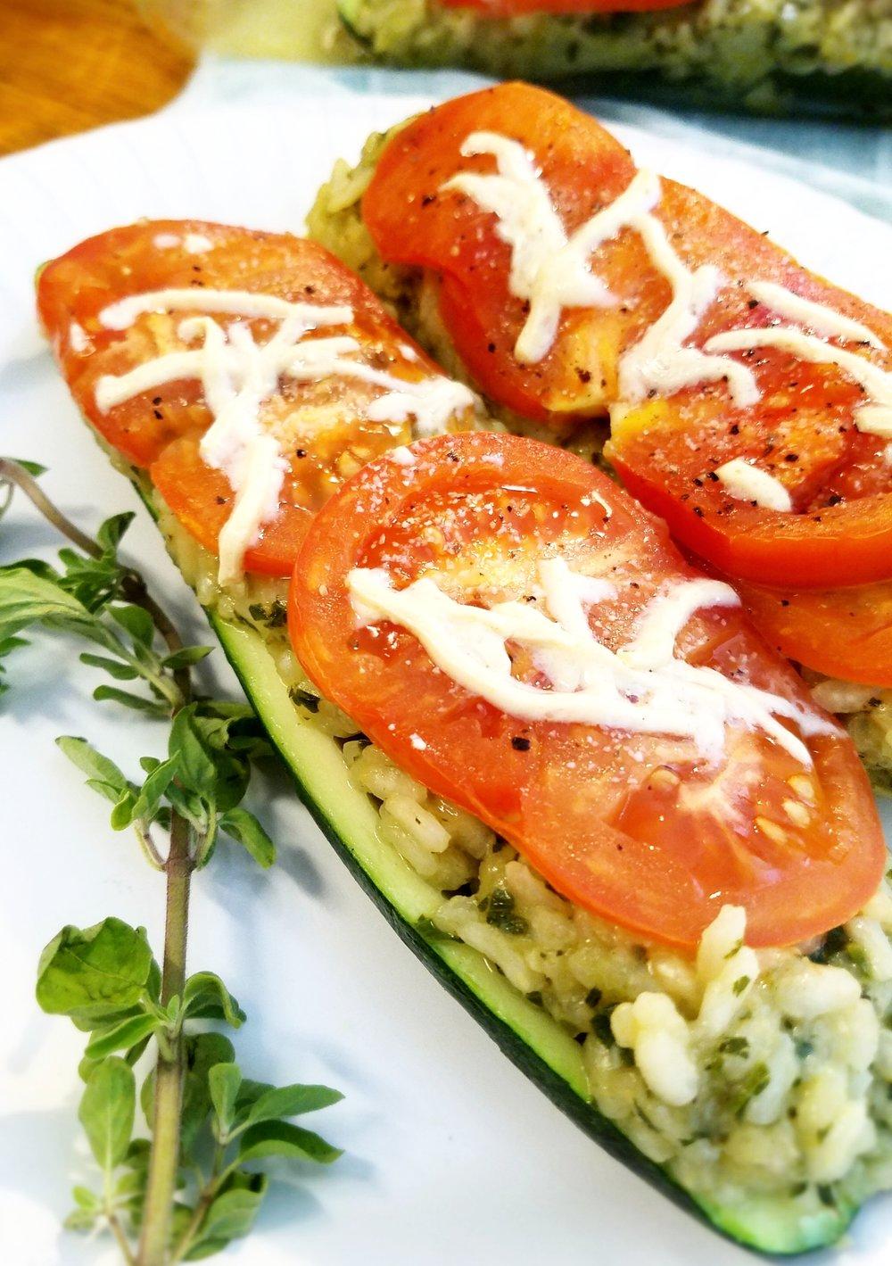 Italian Herb Risotto Stuffed Zucchini