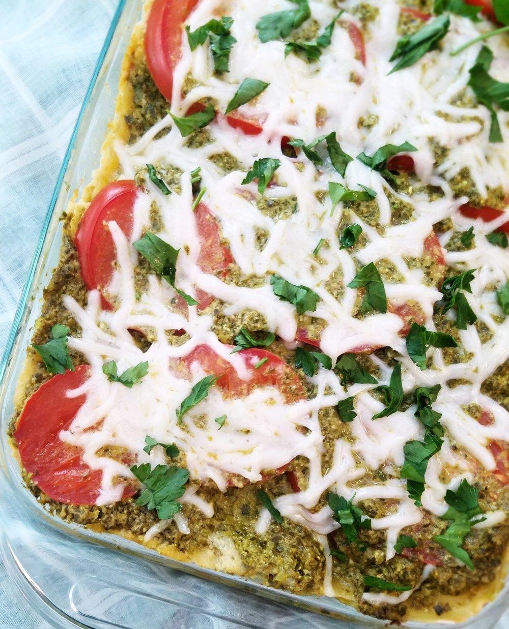 Zesty Pesto and Artichoke Ricotta Lasagna