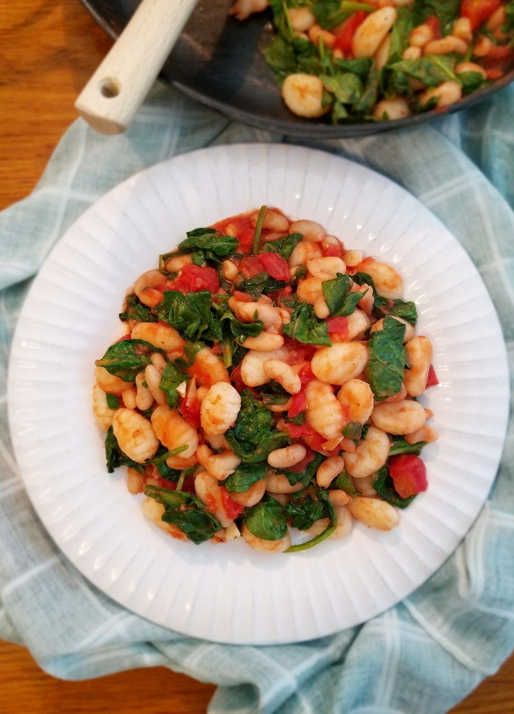 Gnocchi with Cannellini Beans, Tomatoes, and Spinach