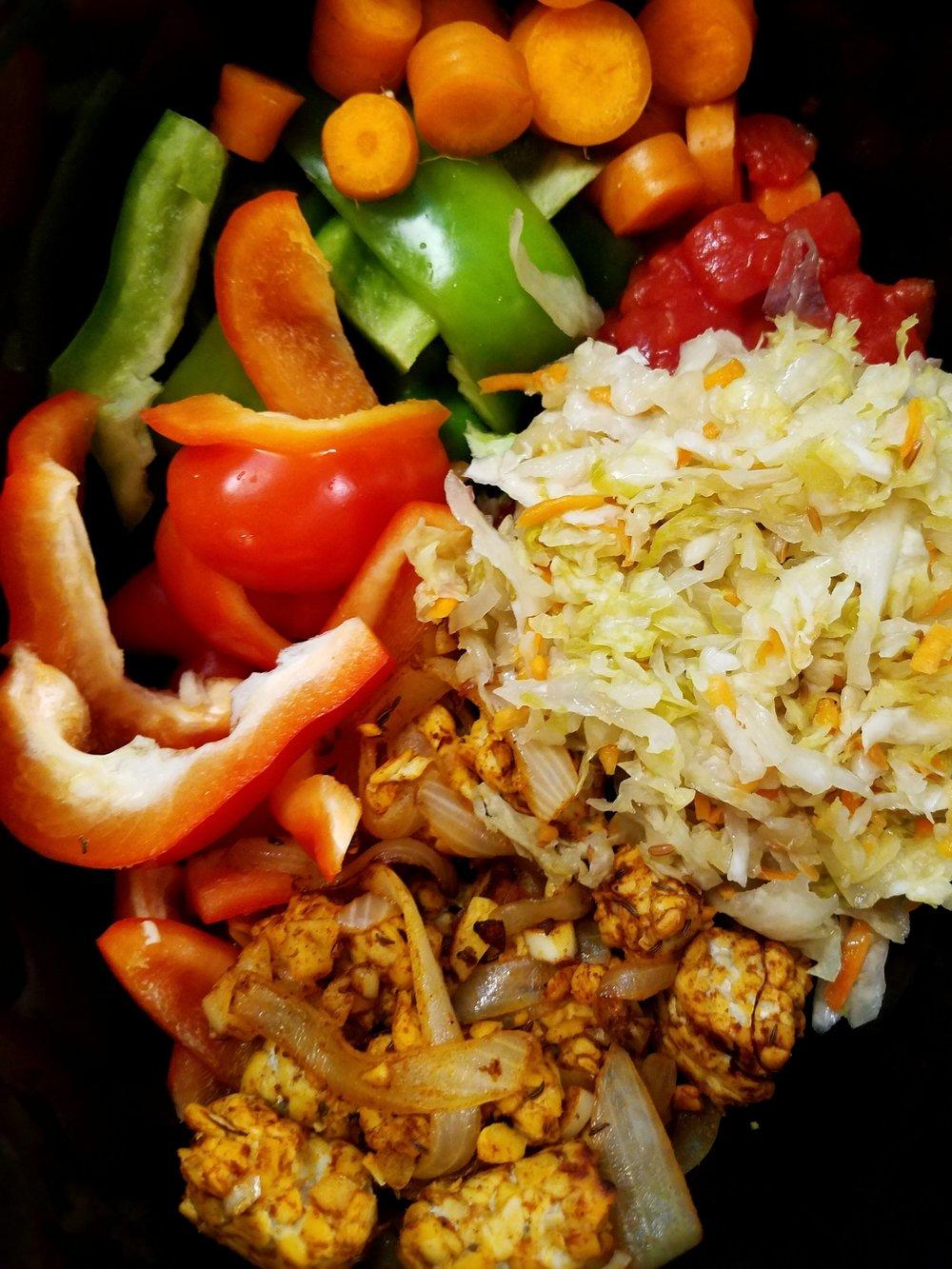 Slow Cooker Sauerkraut Tempeh Stew