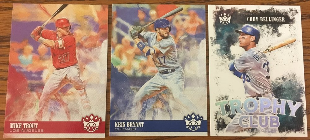 2018 Panini Diamond Kings Base cards of Mike Trout and Kris Bryant.  Trophy Club insert of Cody Bellenger!