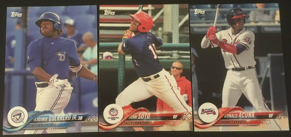 Here's the base cards of Acuna, Soto, and Guerrero Jr.
