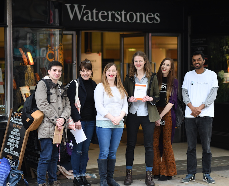 Here's April and four of her colleagues delivering her petition to Waterstones MD, James Daunt.