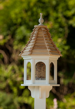 12u201d PVC Hexagon Bird Feeder Cypress Shingle Roof