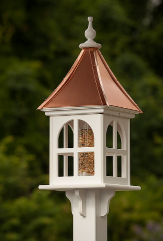 12u201d PVC Square Bird Feeder Copper Roof