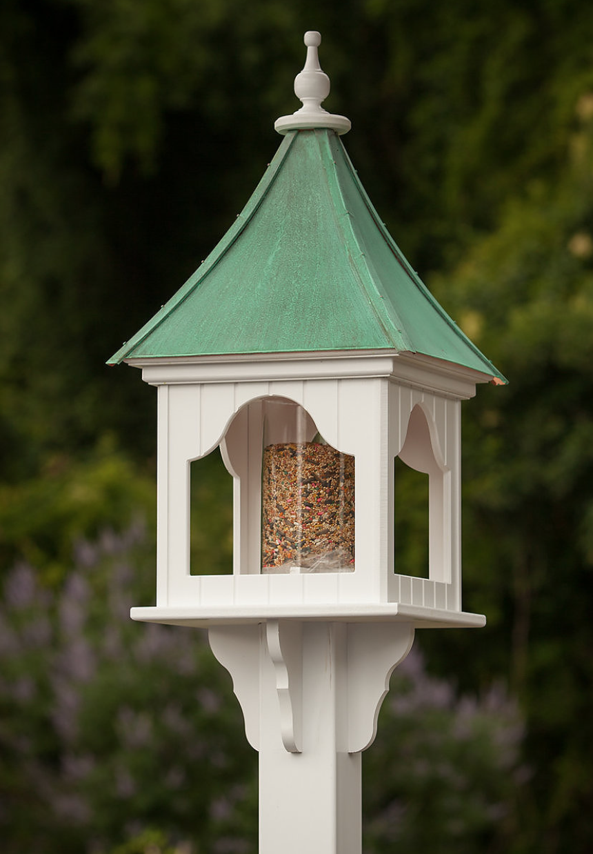 High Quality 14u201d PVC Square Bird Feeder Patina Finish Copper Roof