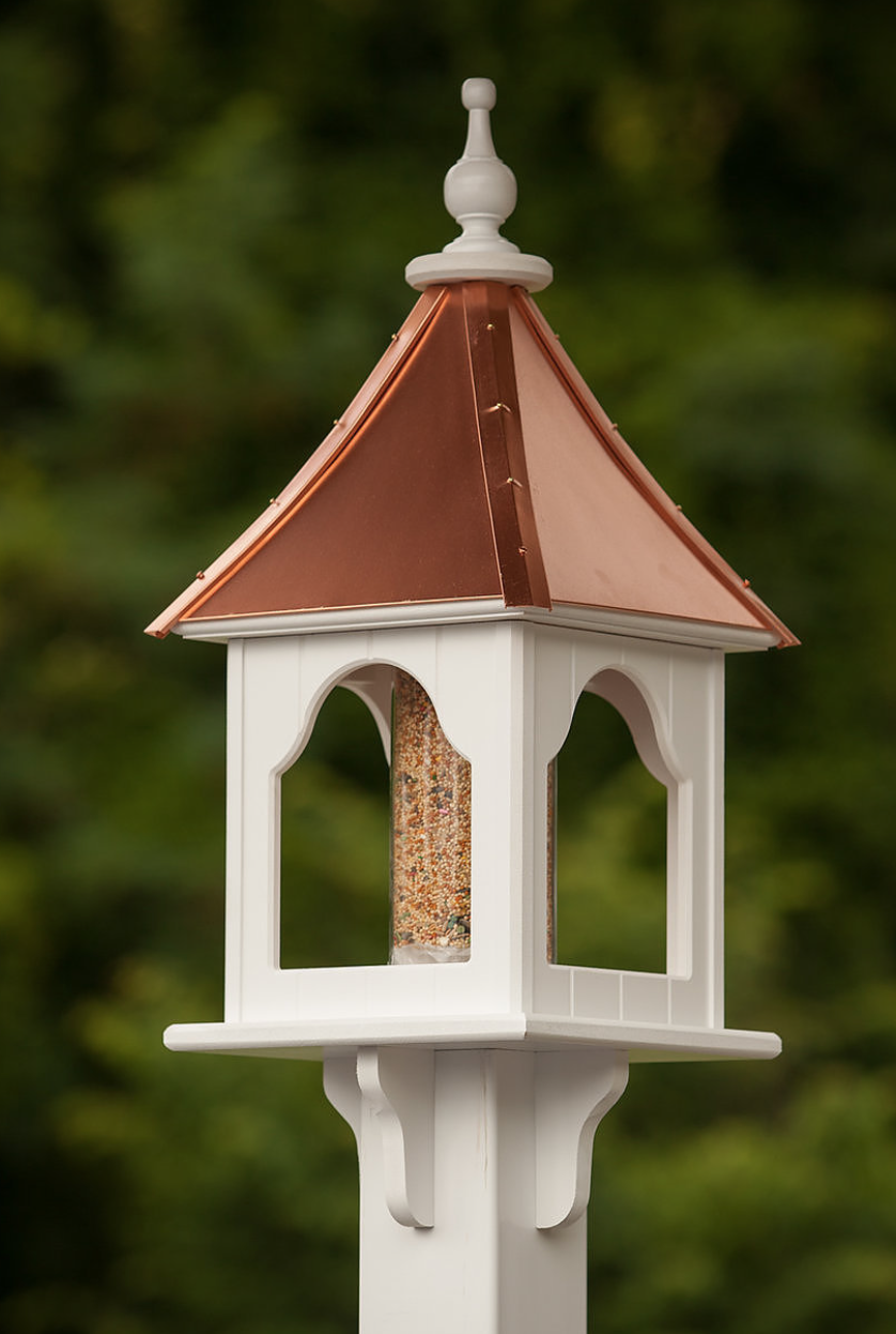 10u201d PVC Square Bird Feeder With Copper Roof