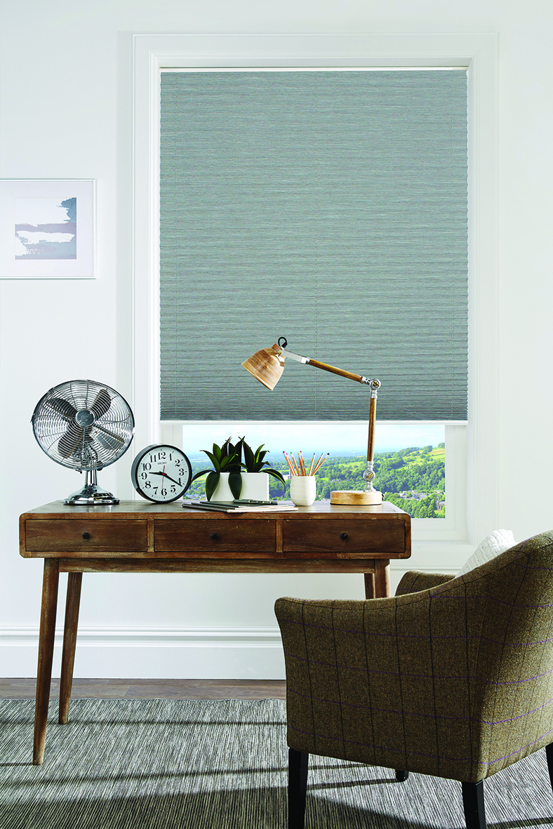 Pleated blind in Harmony Greystone