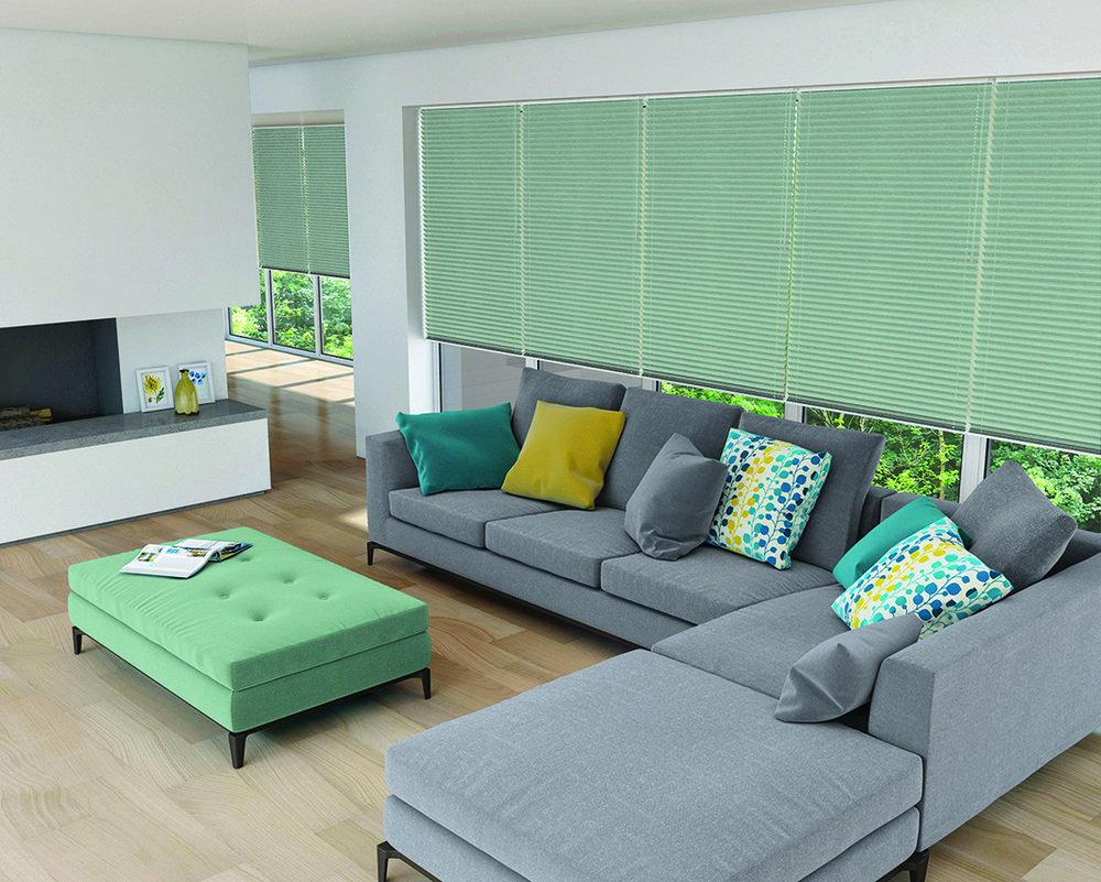 Pleated Blinds in Shot-Silk Mineral