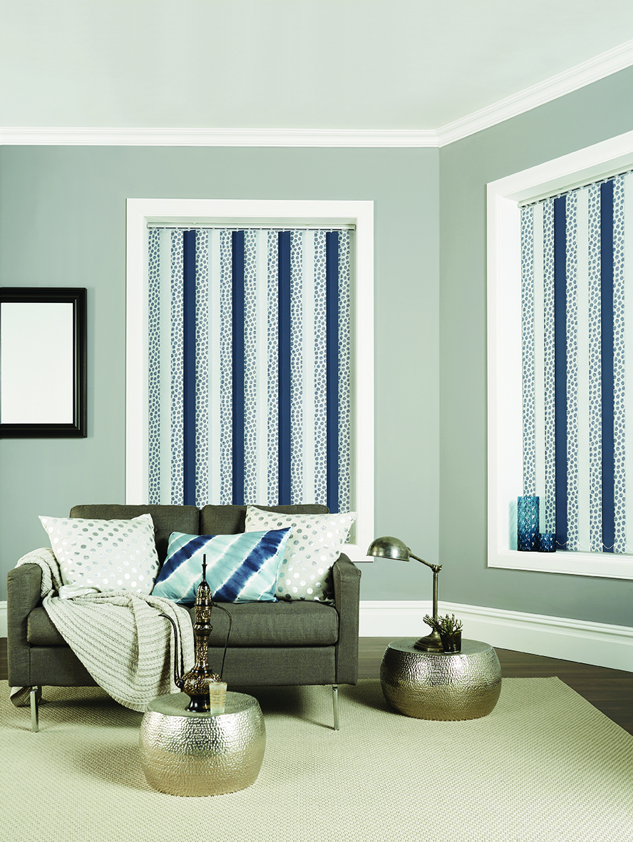 Vertical Blinds in 'Zeta Silver' & . Breton Mineral Silver'