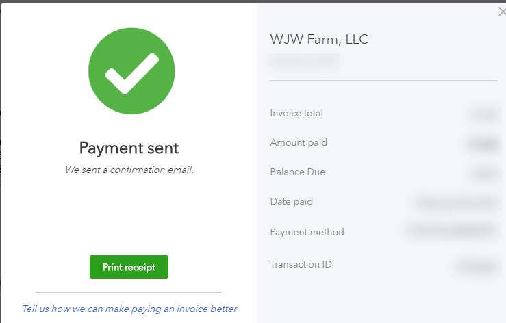 Done. - Once it's paid, you'll be able to see the relevant invoice details and an ID number if you'd like to save it.