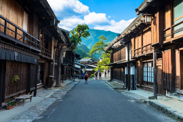 NAKASENDO - The Kiso area is located in the mountainous Nagano Prefecture and famously includes a length of the Nakasendo (central mountain route) trail – one of the Five Routes of the Edo period. These routes were travelled by feudal lords making their annual visit to the capital of Edo (Tokyo).
