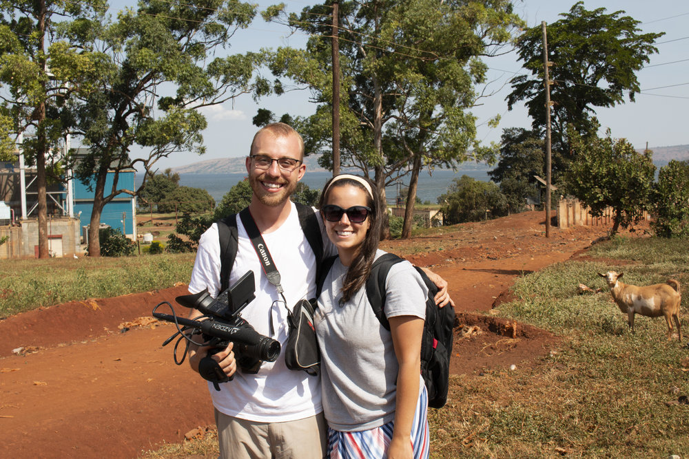 Jesse (left) and Heidi (right) filming in Masese, Uganda.