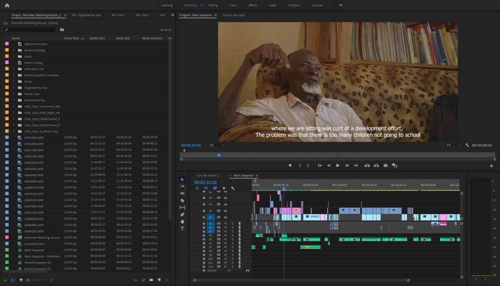 """""""Center Of Hope"""" Editing Timeline - Image of Former Chairman of Masese"""