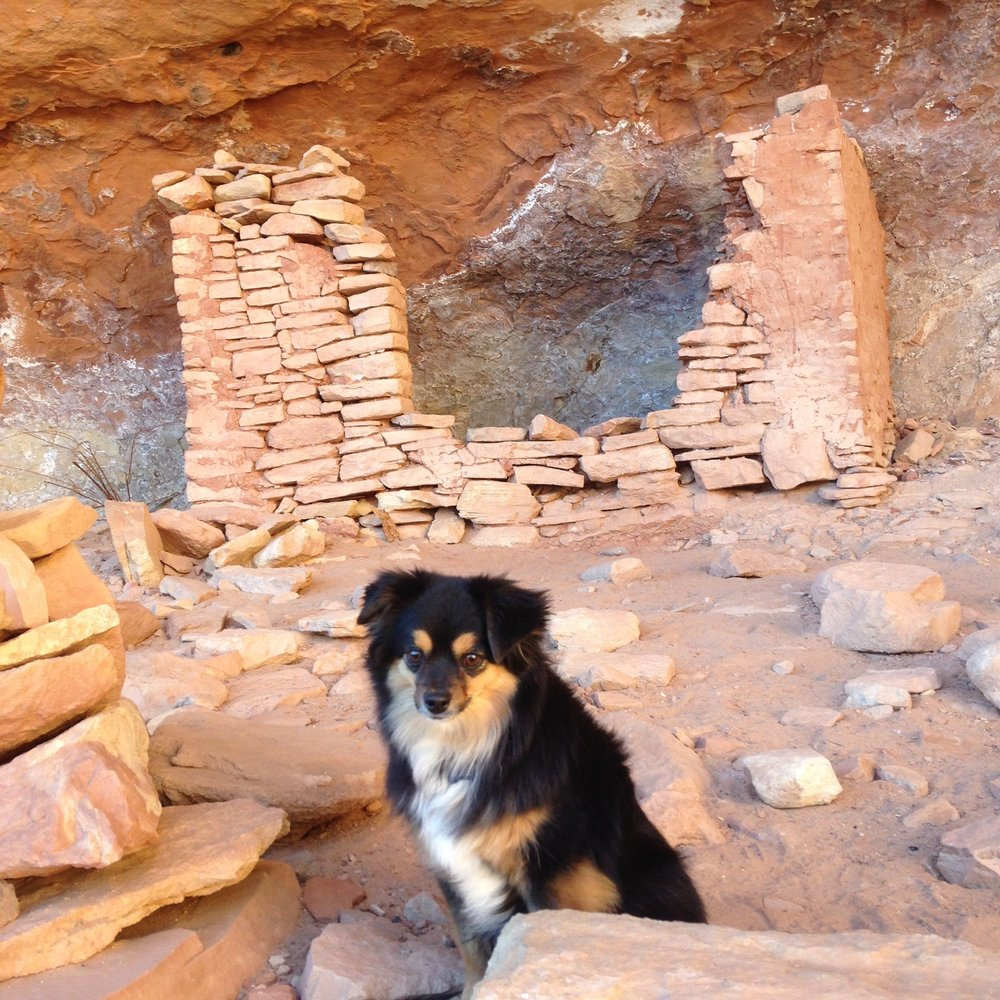 Saisy in front of a ruin in Sand Canyon.