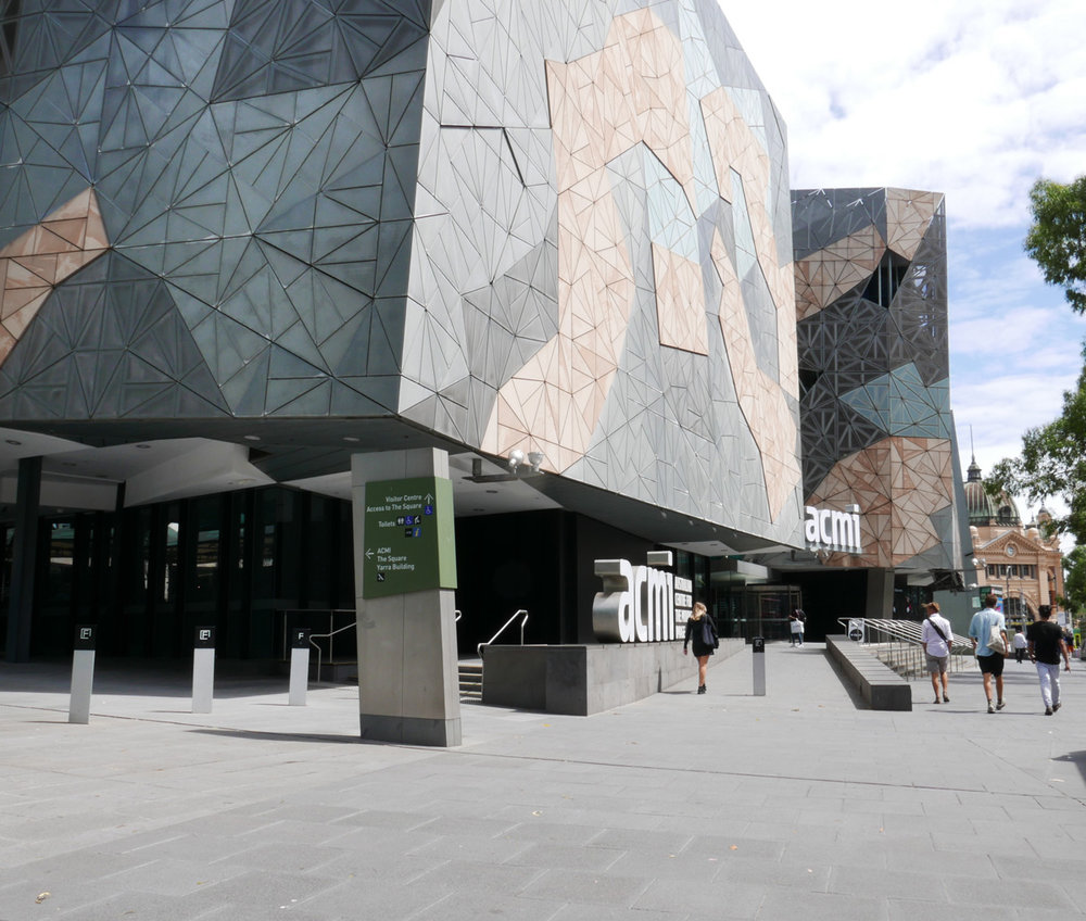 Federation Square from the North East corner looking toward Flinders Street  (note the ramp into ACMI)