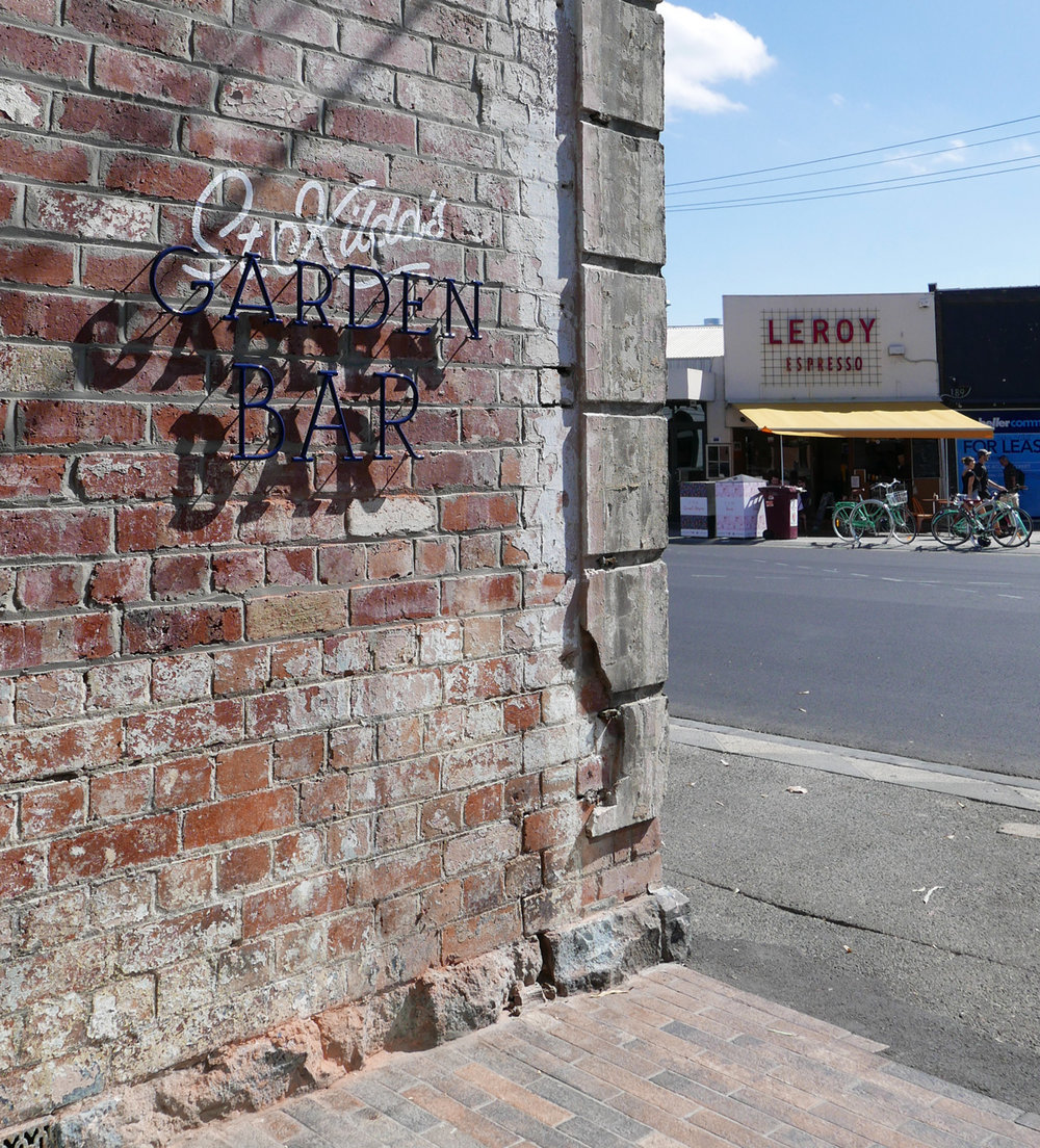 Garden Bar signage looking towards Acland Street.