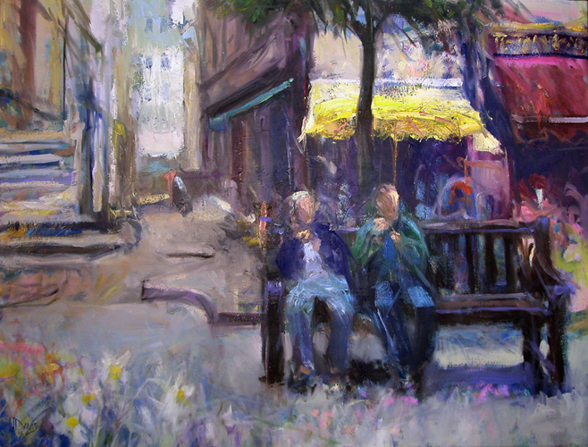 """<i> PARK IN ST MALO </i> <br> Oil on canvas <br> 30""""x45"""" <br> Price: SOLD"""