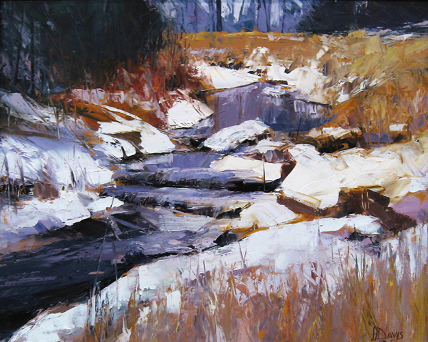 """<i> JANUARY IN KINGFISHER HOLLOW </i> <br> Oil on canvas <br> 15"""" x 19"""" <br> Price: $2500"""