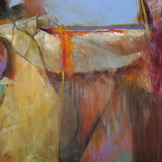 "Violet Horizon Earthscape    Oil on panel  24"" x 24""  Price: $400"