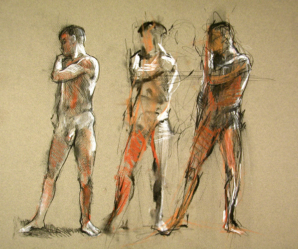"3 Studies 7906    Charcoal/conté on colored paper  12.5"" x 15""  Price: $600"