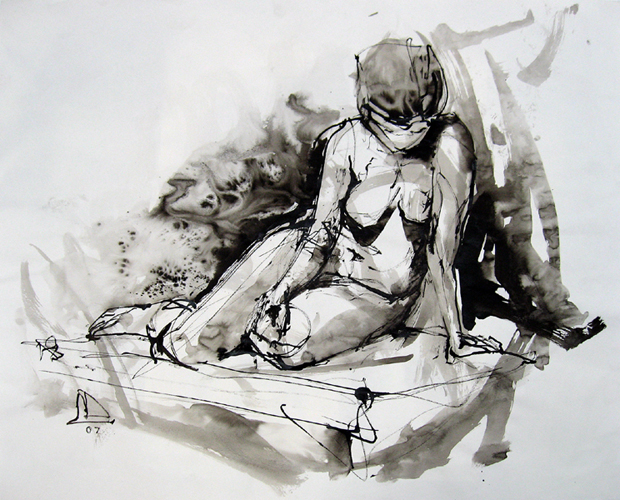 "Model at Rest 4749    Ink wash on archival paper  18"" x 22""  Price: $300"