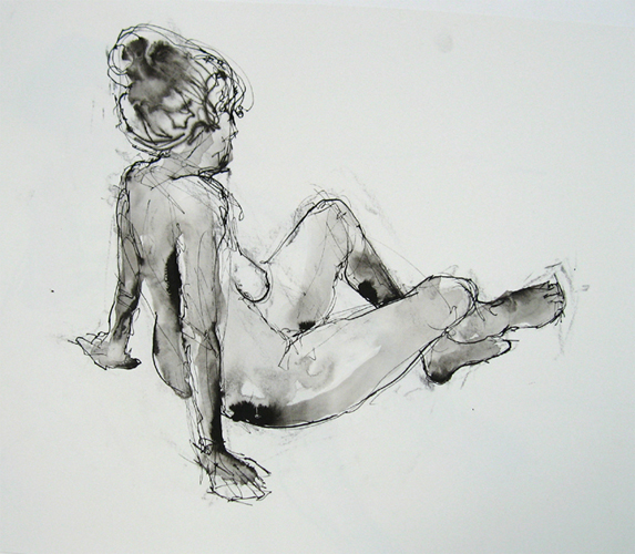"Seated Figure 4737     Ink wash on archival paper  14"" x 15""  Price: $500"