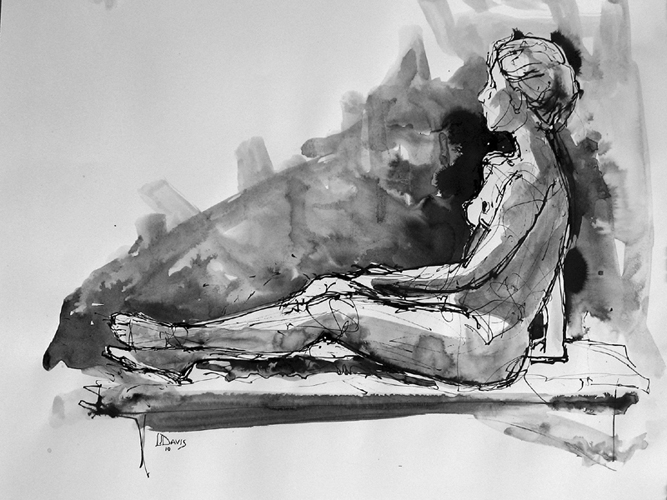 "Seated Figure 4944    Ink wash on archival paper  18"" x 24""  Price: $500"
