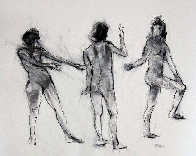 "<i> 3 FIGURES </i> <br> Charcoal on paper <br> 18""x24"" <br> Price: SOLD"