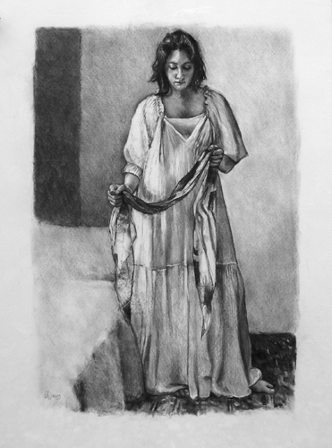 "<i> FIGURE WITH SCARF </i> <br> Charcoal on archival paper <br> 32""x24"" <br> Price: SOLD"