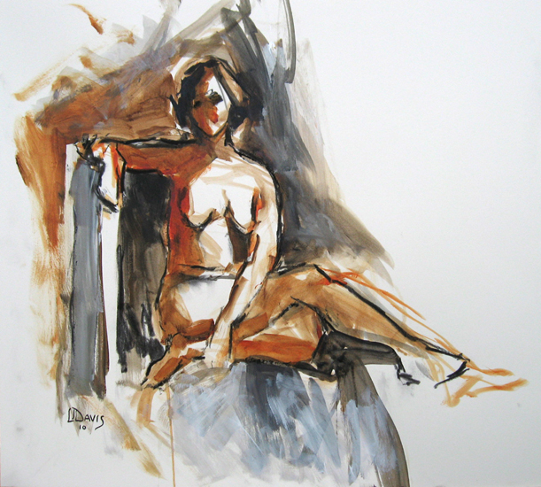"<i> SEATED FIGURE 6593 </i> <br> Charcoal/acrylic wash on paper <br> 18"" x 20"" <br> SOLD"