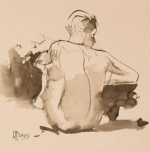 <i> UNTITLED FIGURE #2 </i> <br> Ink wash on colored paper <br> <br> Price: SOLD
