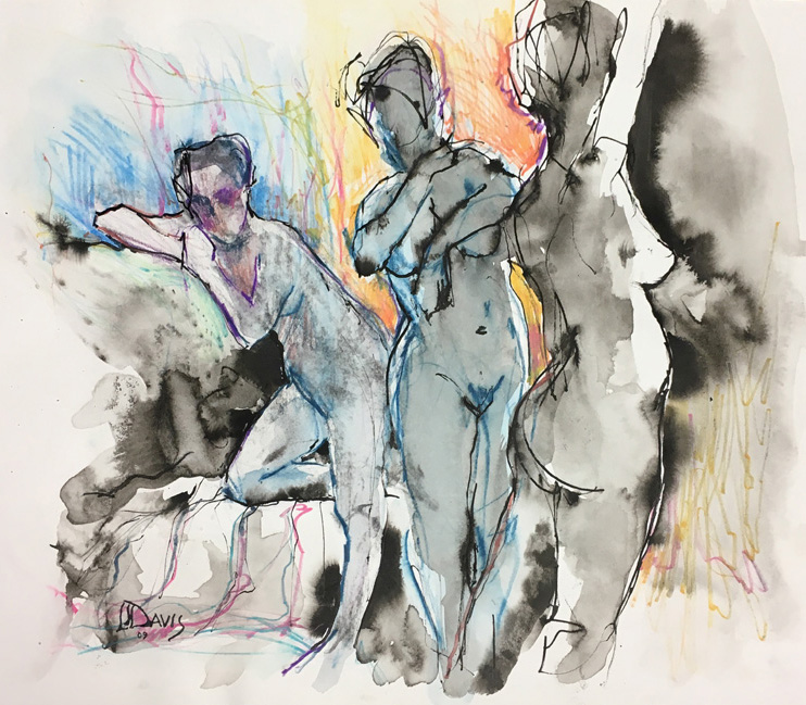 "Three Figures     Ink wash on archival paper  14"" x 16""    Price: $50"