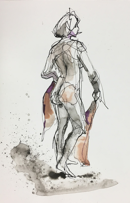 "Figure With Scarf    Ink wash on archival paper  14"" x 9""  Price: $25"