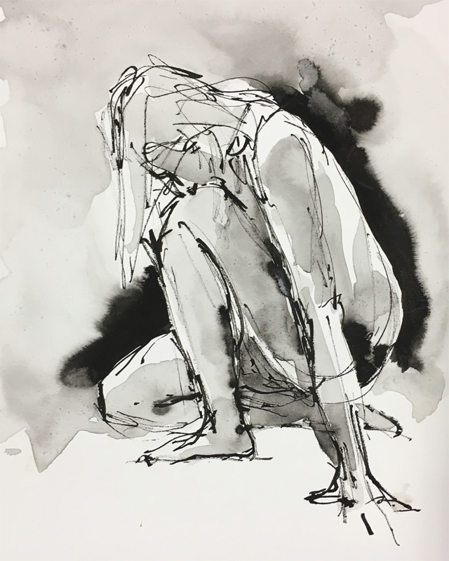 "Kneeling Figure    Ink wash on archival paper  10"" x 8""  Price: $25"