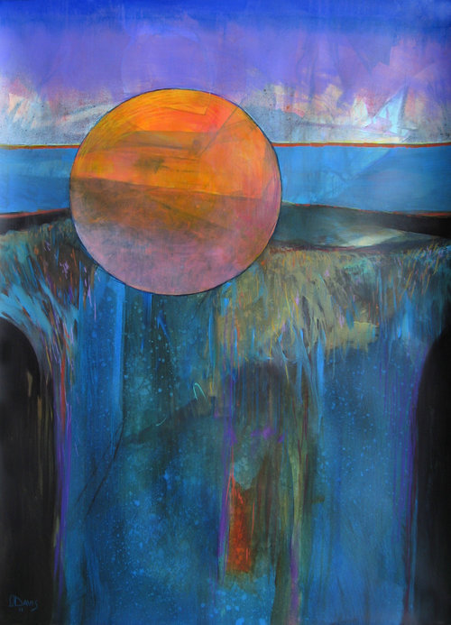 "Radiant Sphere Earthscape     Acrylic on rag paper   30.5"" x 22""   Price: SOLD"