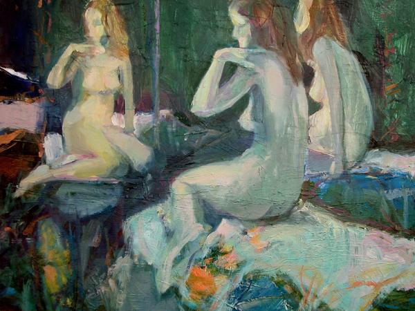 "Mirrored Figure #5    Oil on panel  12"" x 16""  Price: $150"