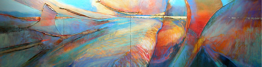 "Phoenix Rising (polyptych)     Acrylic on four-piece polyptych   45"" x 180""   Price: SOLD"