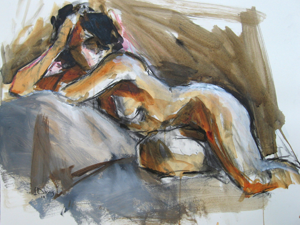 "Model on Chaise 6598     Charcoal/acrylic wash on paper   18"" x 24""   Price: SOLD"