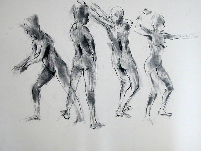 "4 Figures 0071     Charcoal on paper   18"" x 24""    Price: SOLD"