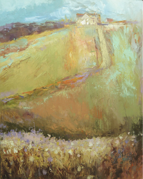 "Hill Top Farm    Oil/cold wax on cradled panel  29.75"" x 23.75"" x .75""  Price: $900"