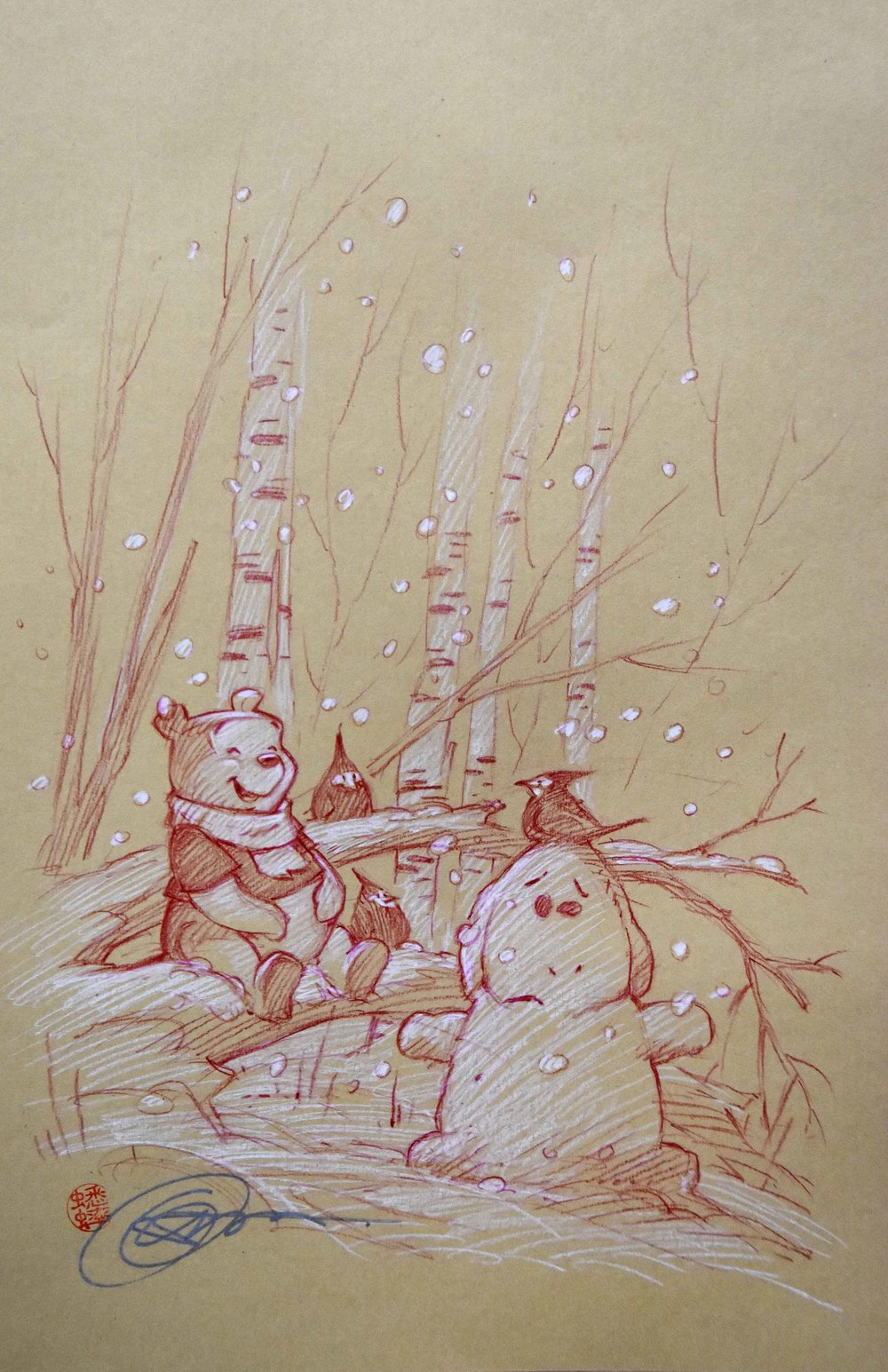 Winnie the Pooh in Winter (Drawing) -